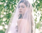 Romantic long Blush Wedding Veil, Chapel or Cathedral length Two Tier Pink or Ivory Bridal Veil