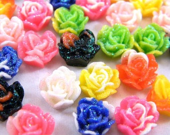 20 Rose Cabochons, Multi Color Flat Back Resin Flowers, Assorted Mix, 11mm, Jewelry Supplies