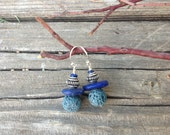 Custom Order for Terry: Teal Lava Beads Cobalt Lapis Dangle Earrings
