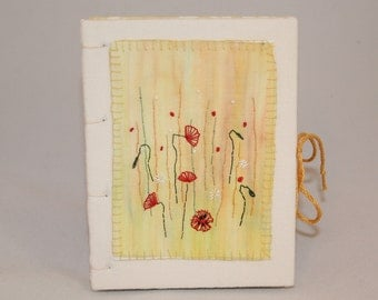 Embroidered Harvest Journal - hand painted, embroidered and bound, coptic binding by Lynwoodcrafts