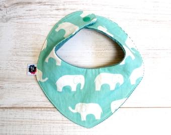 Organic elephant baby bandana bib, drooling bib, dribble bib cord, teething bib, baby bib
