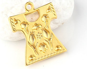 Gold Flat Ottoman Caftan Pendant, 1 piece - Jewelry Supplies // GPP-274
