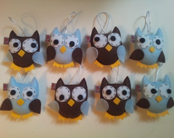 Woodland Baby Decor Owl Felt Plush Ornament Favors SET of 8  Made to Order Party Gift Decor