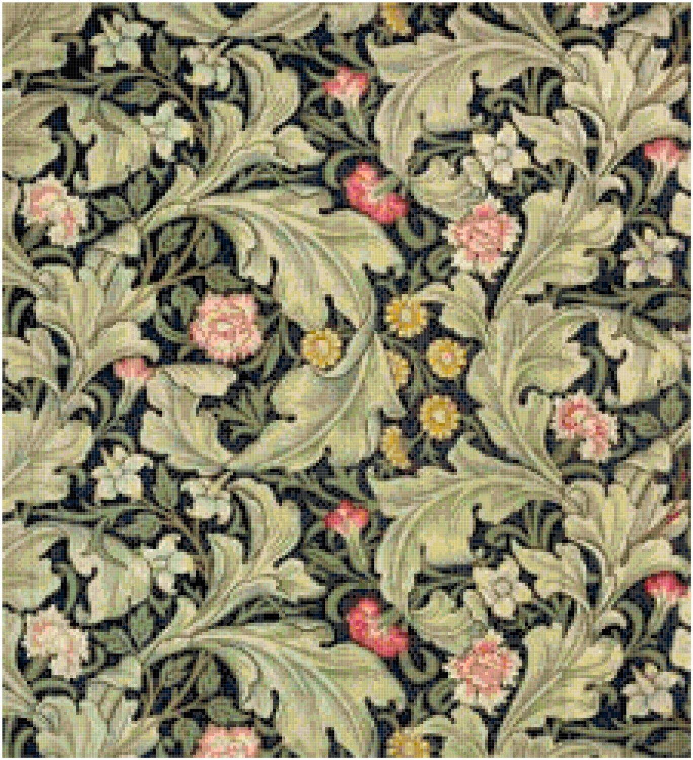 William morris flowers and foliage design counted cross for Arts and crafts style prints