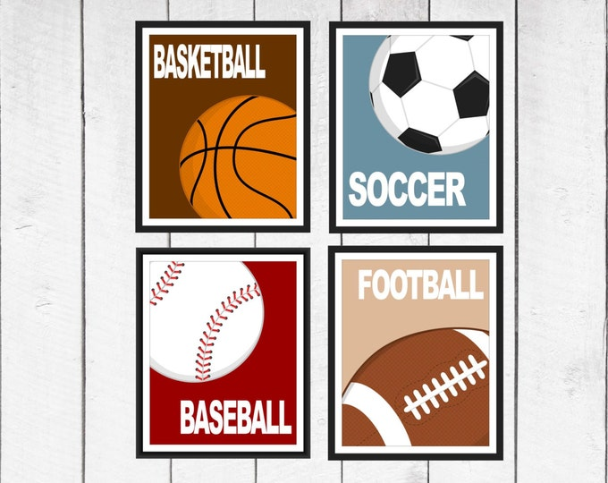 Sports Print Set Nursery Art  - Baseball- Soccer-Football-Basketball - 4 Prints CANVAS AVAILABLE