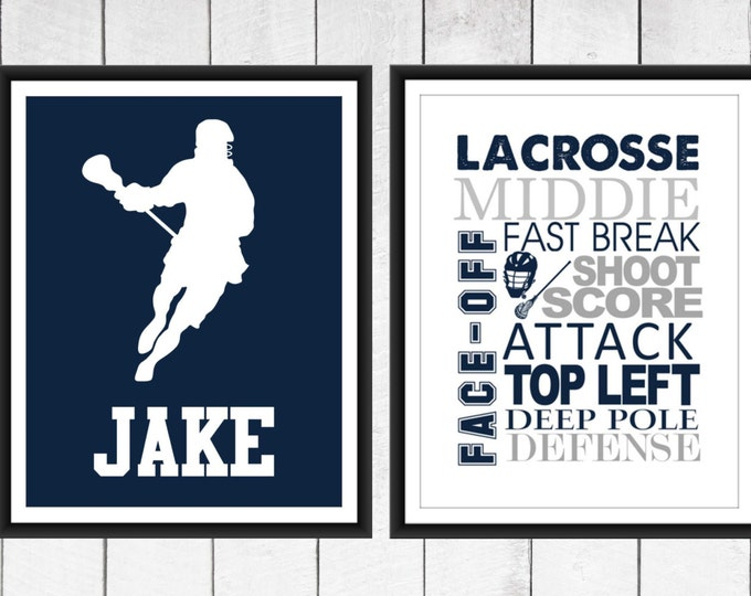 LACROSSE  Word Art Print 2 Piece Set-  Custom Colors and Sizes - Sports Nursery