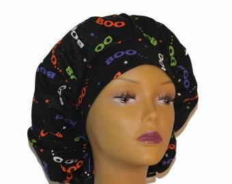 Bouffant Scrub Hat with ties - Halloween Theme Scrub Hat - Boo Bouffant scrub hat - Ponytail Scrub hat