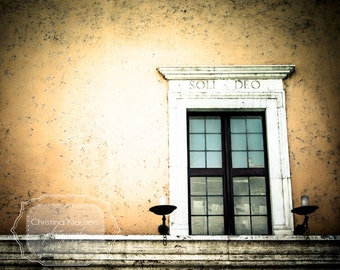 Window Photo. Soli Deo. Rome. Roma. Italy. Candlesticks. Photograph. Rustic Building. Brown. Orange. Warm. Fine Art Photography