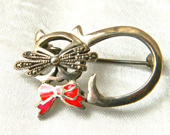 Vintage Sterling Silver CAT Brooch Pin  Marcasite Whiskers Kitty with Red Enamel Bow Tie Valentine Gift Bag Signed Coldwater Creek