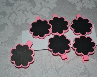 12 Pink Flower Chalkboard Clothespins/Clothespins/Flower Chalkboards/Chalkboards/Chalkboard Clip