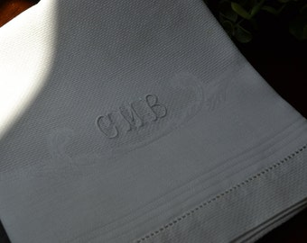 Vintage White on White Monogrammed Cotton Tea Towel, Embroidered Initials 3397