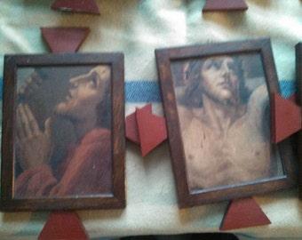 RARE set Via Crucis paintings M. Barberis listed artist