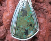Large Arizona Turquoise Stone Pendant Sterling Silver Wire Wrapped Necklace