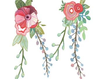 M - Floral Letter