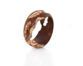 Spring Sale! 40% off! Indian Rosewood Bracelet with Gold Leaf – Regal Gold