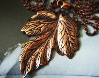 Copper Leaf Necklace and Earrings