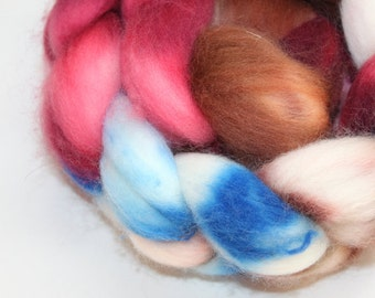 Hand Painted Roving / Top | Superwash Merino | Sailboat | 100g