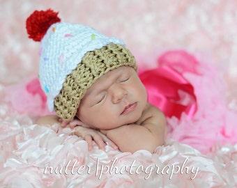Premie cupcake hat, Newborn cupcake hat, 3 month cupcake hat, Crochet cupcake baby hat, Newborn cupcake photo prop, Pink cupcake hat