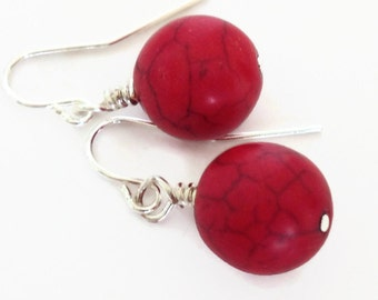 Red Turquoise Earrings, Red Stone Earrings, Red Stone Dangle Earrings, Red Earrings, Red Earring, Simple Red Earrings, Bright Red Earring