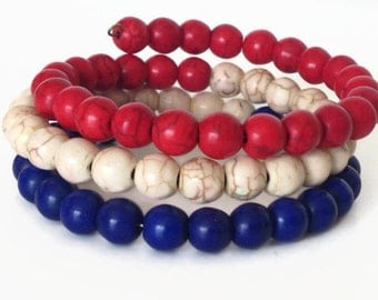Red White and Blue Bracelet, Patriotic Bracelet, Red Stone Bracelet, Red and Blue Wrap Bracelet, Red Bracelet, Turquoise Bracelet
