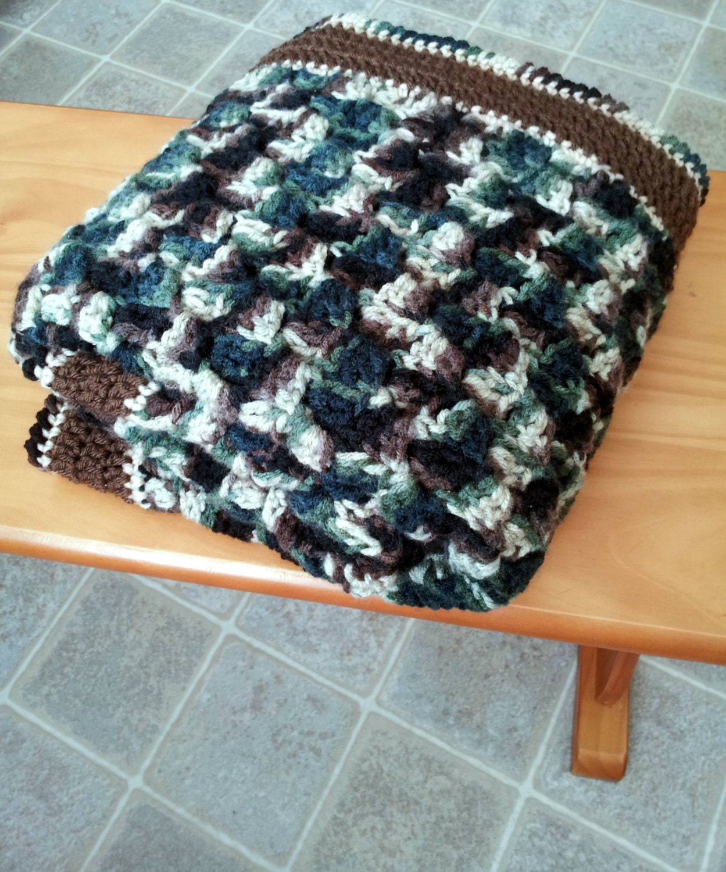 c2c-Corner Stitch Camo Baby Blanket Crochet Pattern PDF