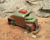 vintage tin litho USA army armored  truck tank toy, made in occupied Japan, marked Ftoy