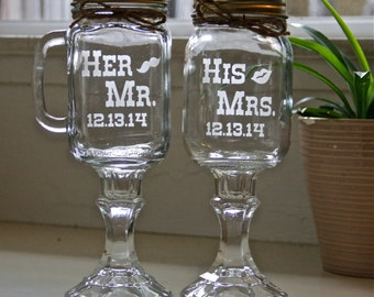 His Mrs. and Her Mr. Redneck Wine Glass, Redneck Mug Glass