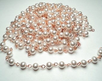 10 ft- Copper plated 6mm white pearl link chain -m179c