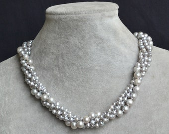 gray pearl necklaces,18 inches 5-9mm grey pearl necklaces,freshwater pearl necklaces,4 rows pearl necklace