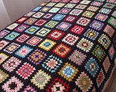 Afghan Blanket, colorful, retro, patchwork, wrap, handmade, crochet, red, warm, cozy