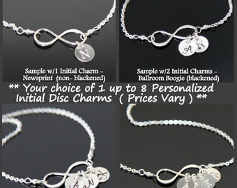 Personalized Infinity Necklace, INFINITY Initial Necklace, Family Charms, Monogrammed, Mom's Necklace.