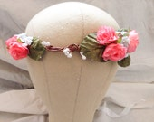 Red pink boho floral hair crown wreath garland bridal wedding roses flowers floral woodland