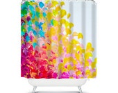 CREATION IN COLOR Fine Art Painting Shower Curtain Washable Floral Home Decor Colorful Rainbow Cheerful Ocean Waves Modern Style Bathroom