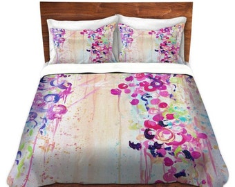 FEMININE Fine Art Duvet Covers, King Queen Twin, Dance of the Sakura Home Decor Bedding Children Adult, Floral Colorful Bedroom
