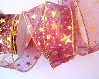 """Golden Star Sheer Wired Ribbon Trim, Burgundy, 1 1/2"""" inch wide, 1 yard For For Gift Packing, Wreaths, Center Pieces, Home Decor"""