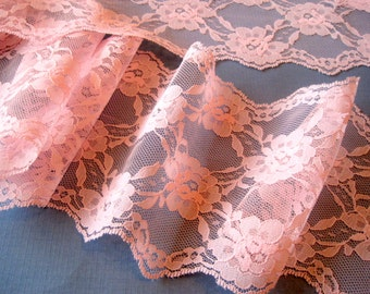 "Extra Wide Rose Lace Trim, Pink, 5 1/4"" inch wide, 1 Yard For Bridal, Apparel, Home Decor, Accessories, Mixed Media"