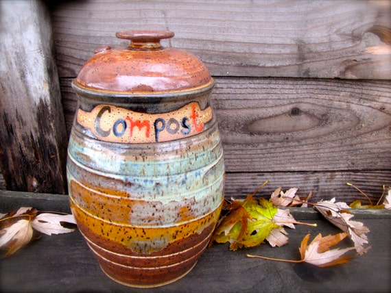 Compost Pot Pottery Handmade Organic Hand Painted Gift