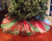 Red and Green Christmas Tree Skirt Tulle