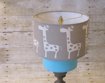 Lamp Shade Giraffe Drum Lampshade 2 Tier in Taupe and Aqua Blue
