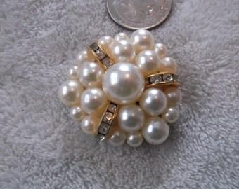 Vintage Pin-Romantic Faux Pearl Crystal Rhinestone Triangle- P2207