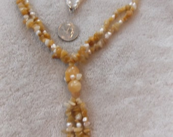 High Fashioned Handcrafted Necklace-Fire Lemon JADE & Fresh Water Pearls-N829