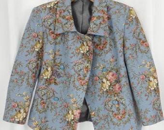 60s vintage powder blue flax linen cabbage rose floral double breasted cropped jacket/ 3/4 sleeves:fits US6- small 8