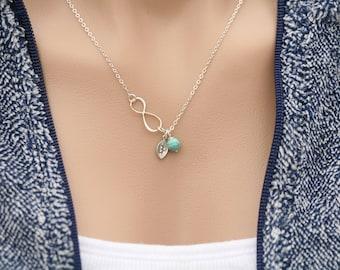 Personalized infinity necklace,custom initial,cusotm birthstone,monogram leaf,Sideways infinity,Tiny stone,Leaf necklace,Friendship gift