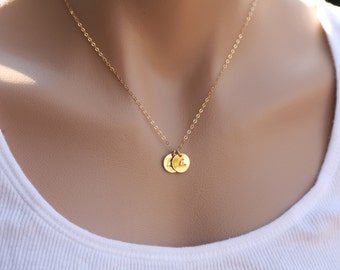 Personalized,TWO Initial Necklace,GOLD Filled, Family, Couple,Birthday,Best Friend, Kid, Sisterhood, Mother's Jewelry