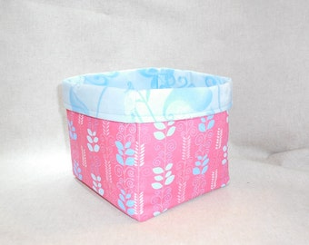 Pink and Blue Leaf And Swirl Pattern Fabric Basket For Storage Or Gift Giving