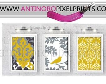 Ikat Damask Wall Art Prints Golden Mustard Yellow Greys Wall Art Set of (3) - Wall Art Prints - (UNFRAMED)