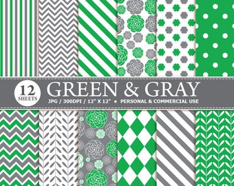 50% OFF SALE 12 Green & Grey Digital Scrapbook Paper, digital paper patterns for card making, invitations, scrapbooking