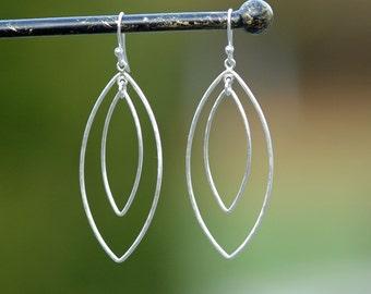 Long Silver Hoop Earrings, Marquis Dangle Earrings, Large Petal Hoops, Chandelier Earrings, Sterling Silver Dangles by CharmingMetals