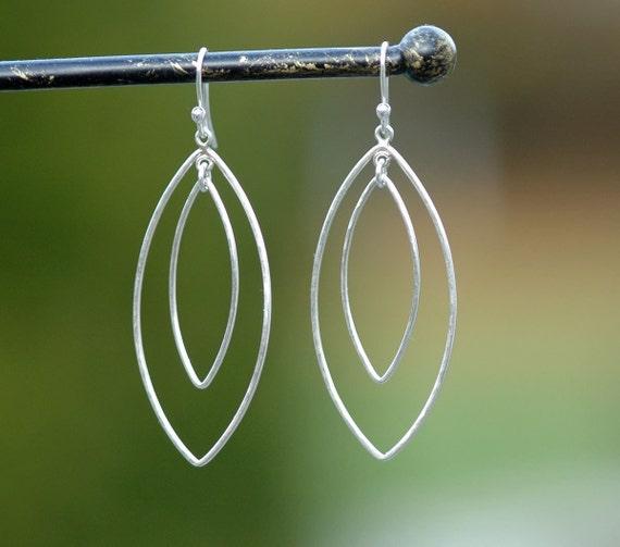 Long Silver Hoop Earrings, Silver Dangle Earrings, Large Petal Hoops, Chandelier Earrings, Sterling Silver Dangles by CharmingMetals