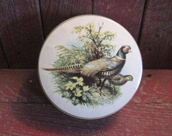 Tin Box, Round Tin Box, Storage, Organization, Home Decor, Vintage Home Decor, Birds, Sweet Little Pheasant Tin Box  :)